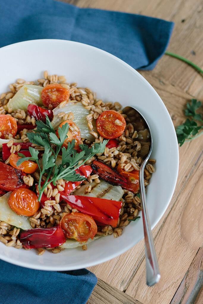 Speltsalade met gegrilde groenten - Angelina Catharina